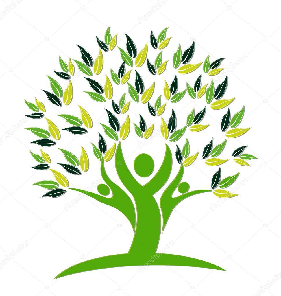 Green tree nature people concept logo vector