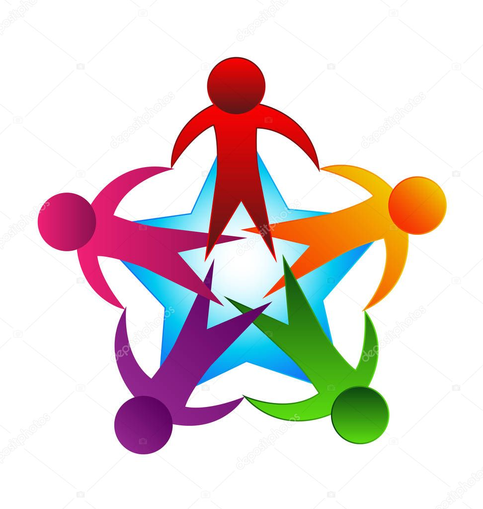 Logo teamwork people unity vector