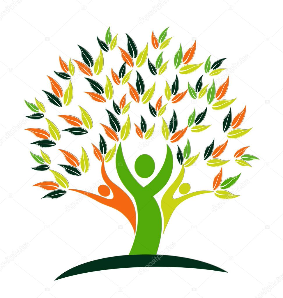 Vector Tree teamwork people logo