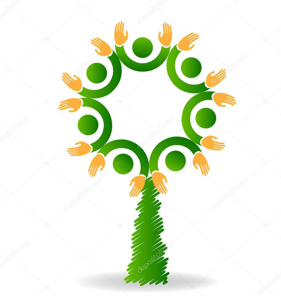 Logo tree eco friendly teamwork vector icon