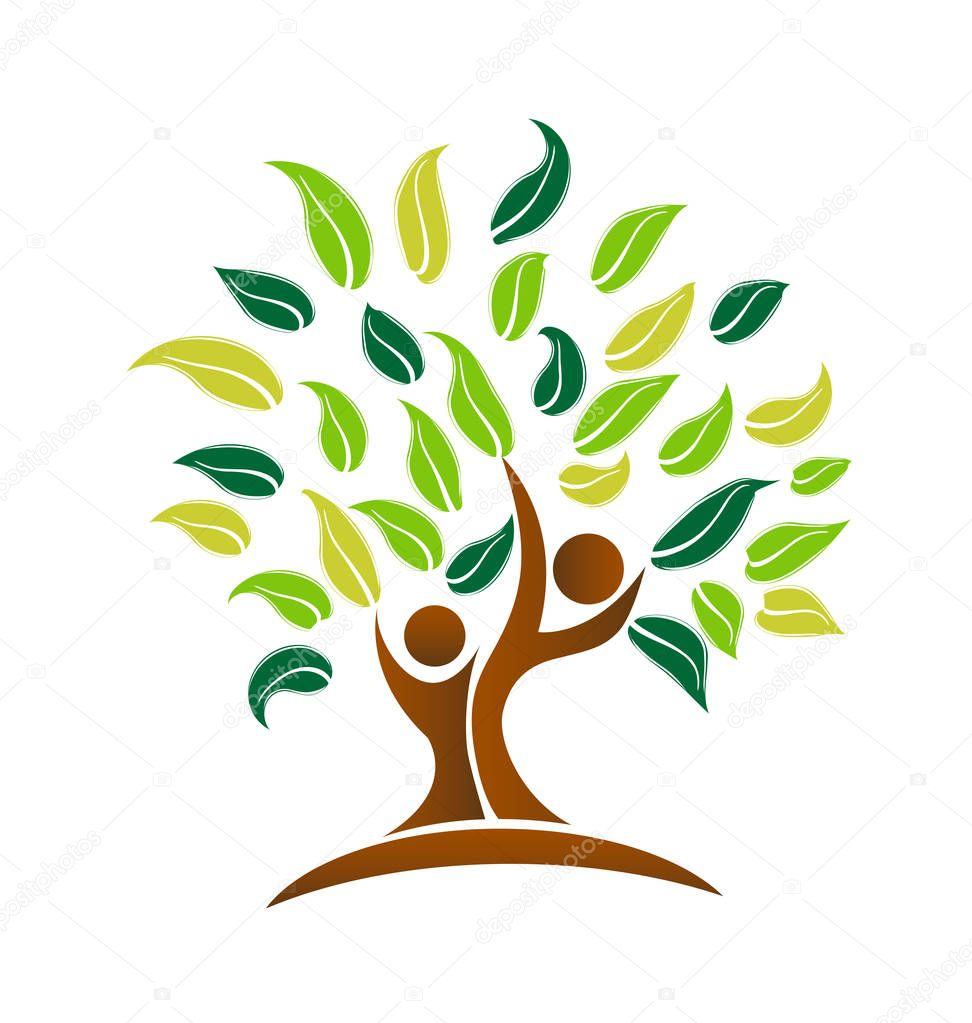 Environmental tree, cleaning the planet icon vector