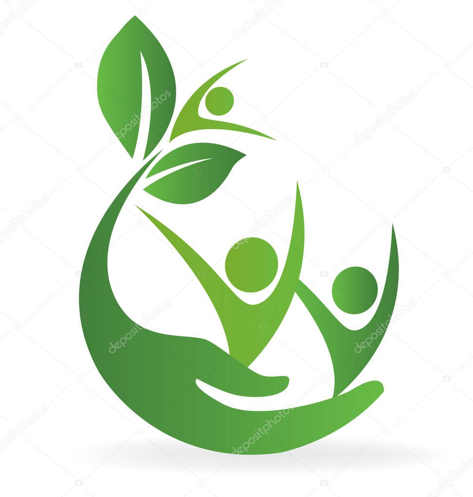 Health nature hand care family people logo vector image