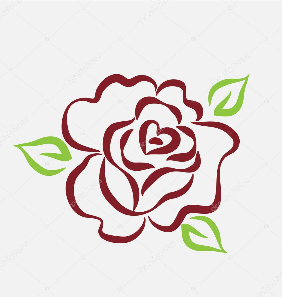 Rose flower, line art, vector