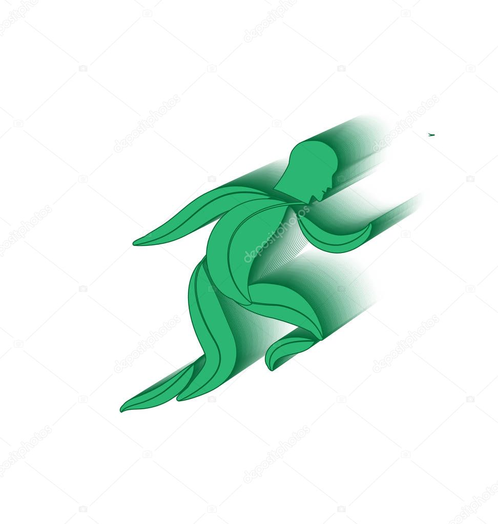 Running healthy leaf man concept vector