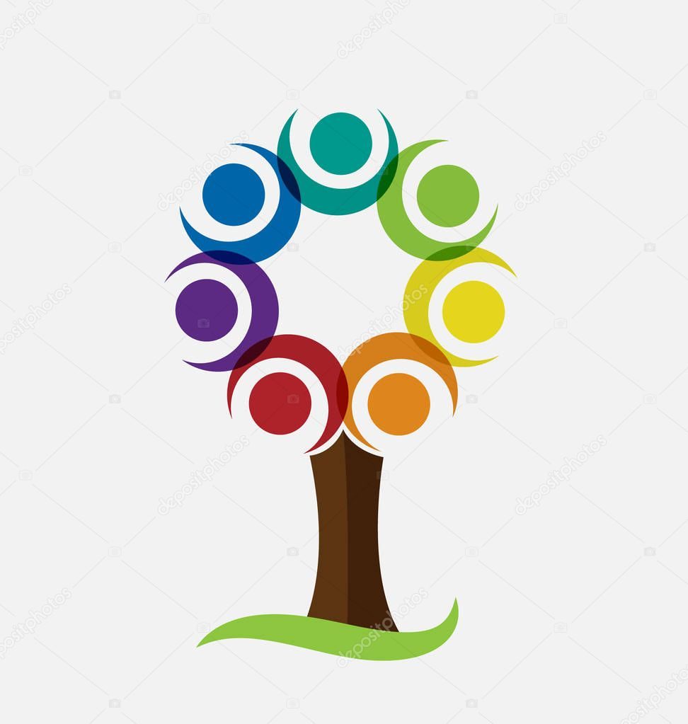 Colorful tree vector logo