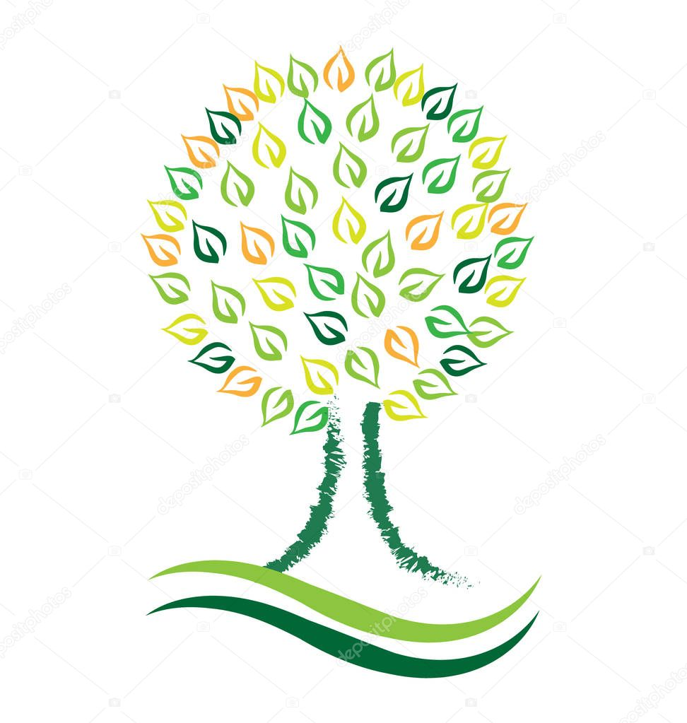 Environmental tree art vector design