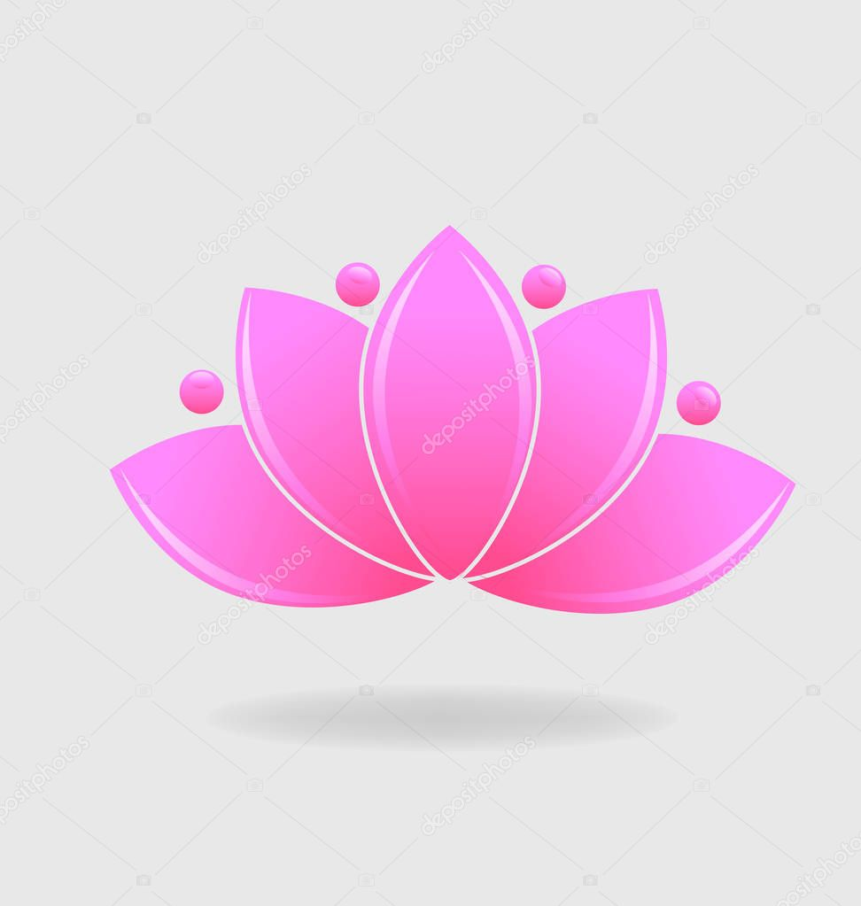 Pink lotus plant vector