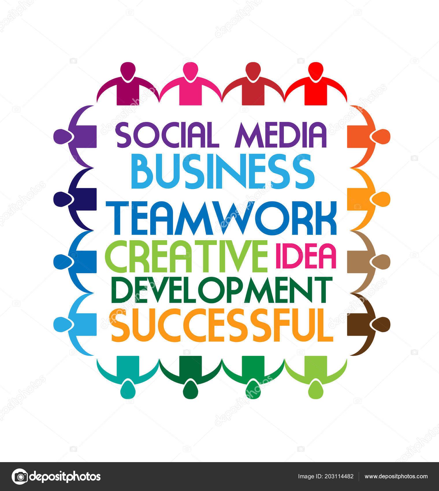 Geschäft Sprüche Teamarbeit Soziale Medientext Vektor