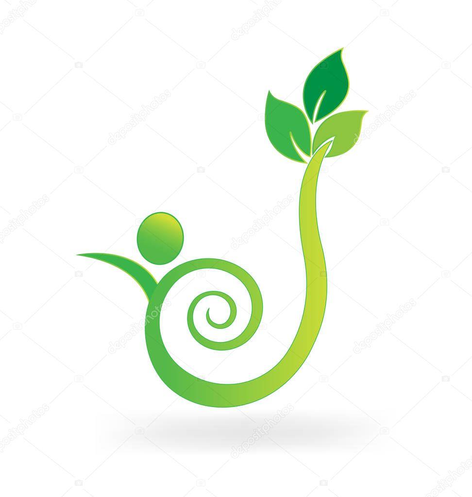 Green environment friendly leaf vector