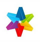Hvězda s více barvami vektorové ilustrace design loga