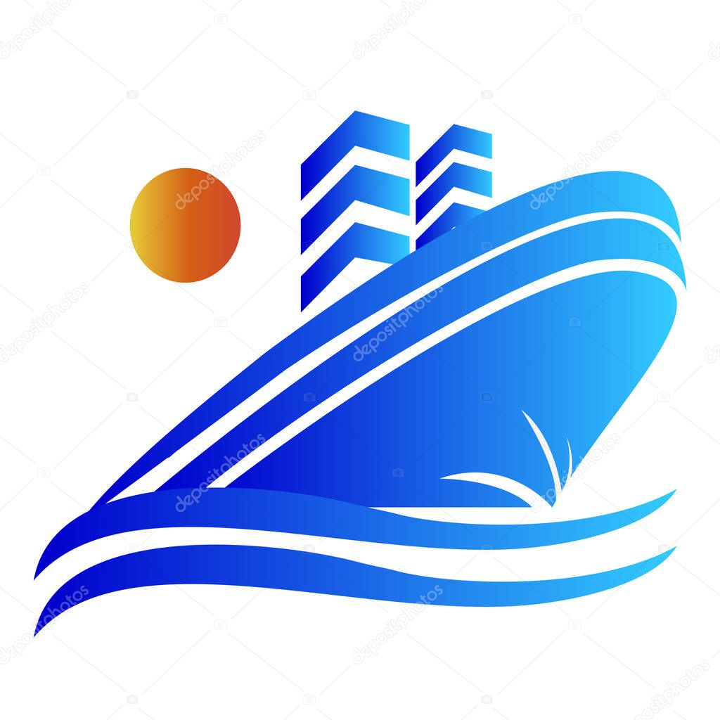 Blue cruise ship vector logo