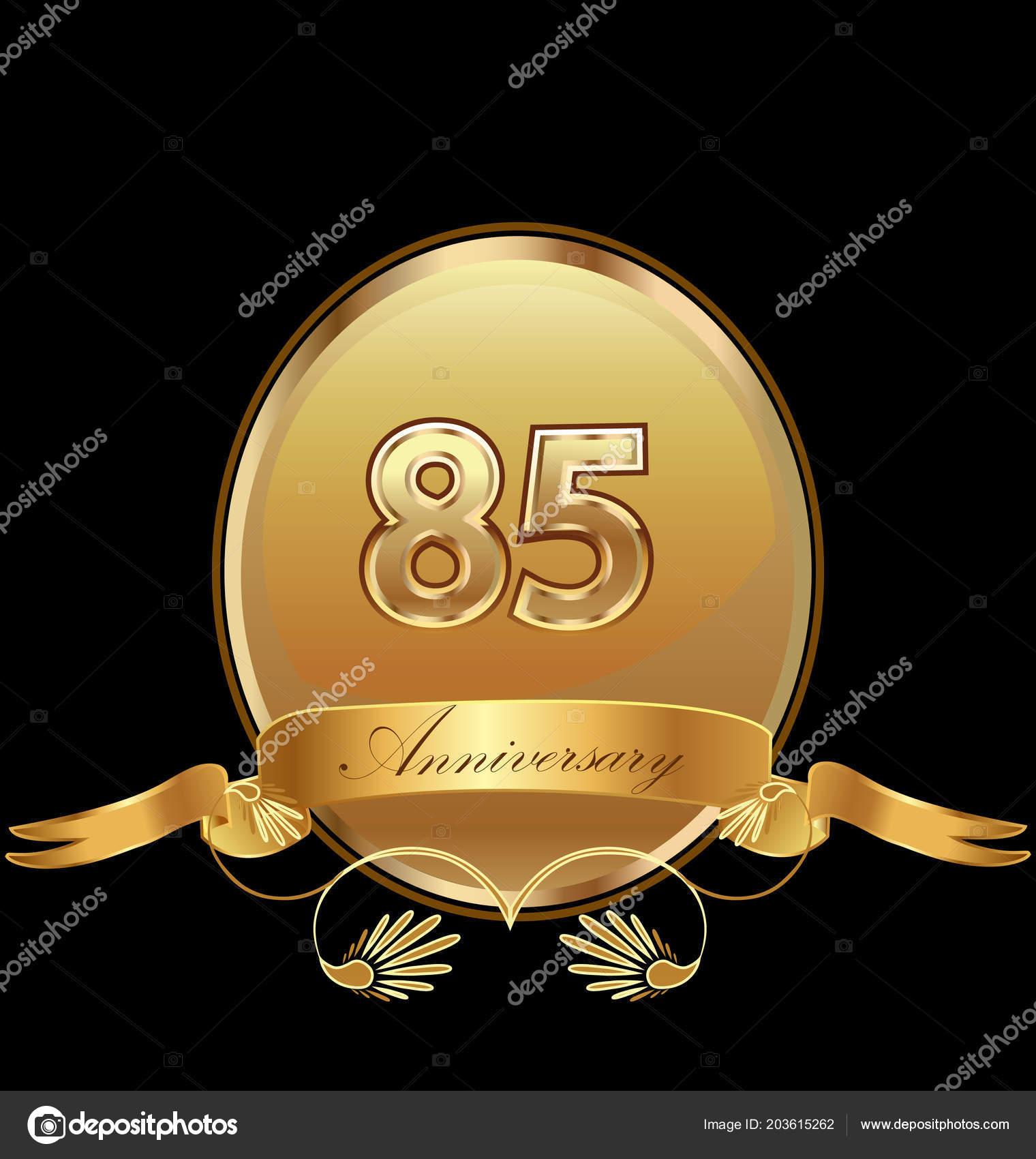 Besiegeln Sie 85 Geburtstag Goldene Hochzeit Symbol Vektor