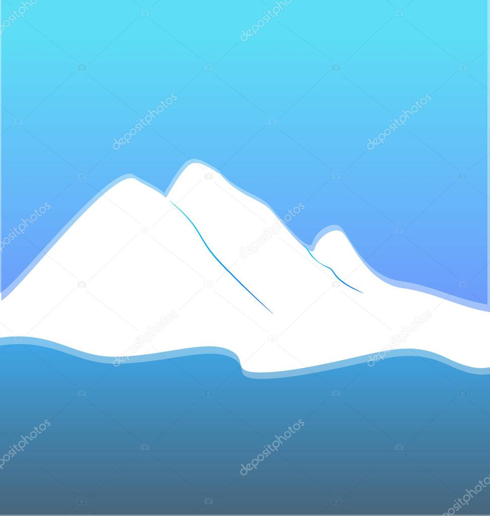Blue mountain terrain vector
