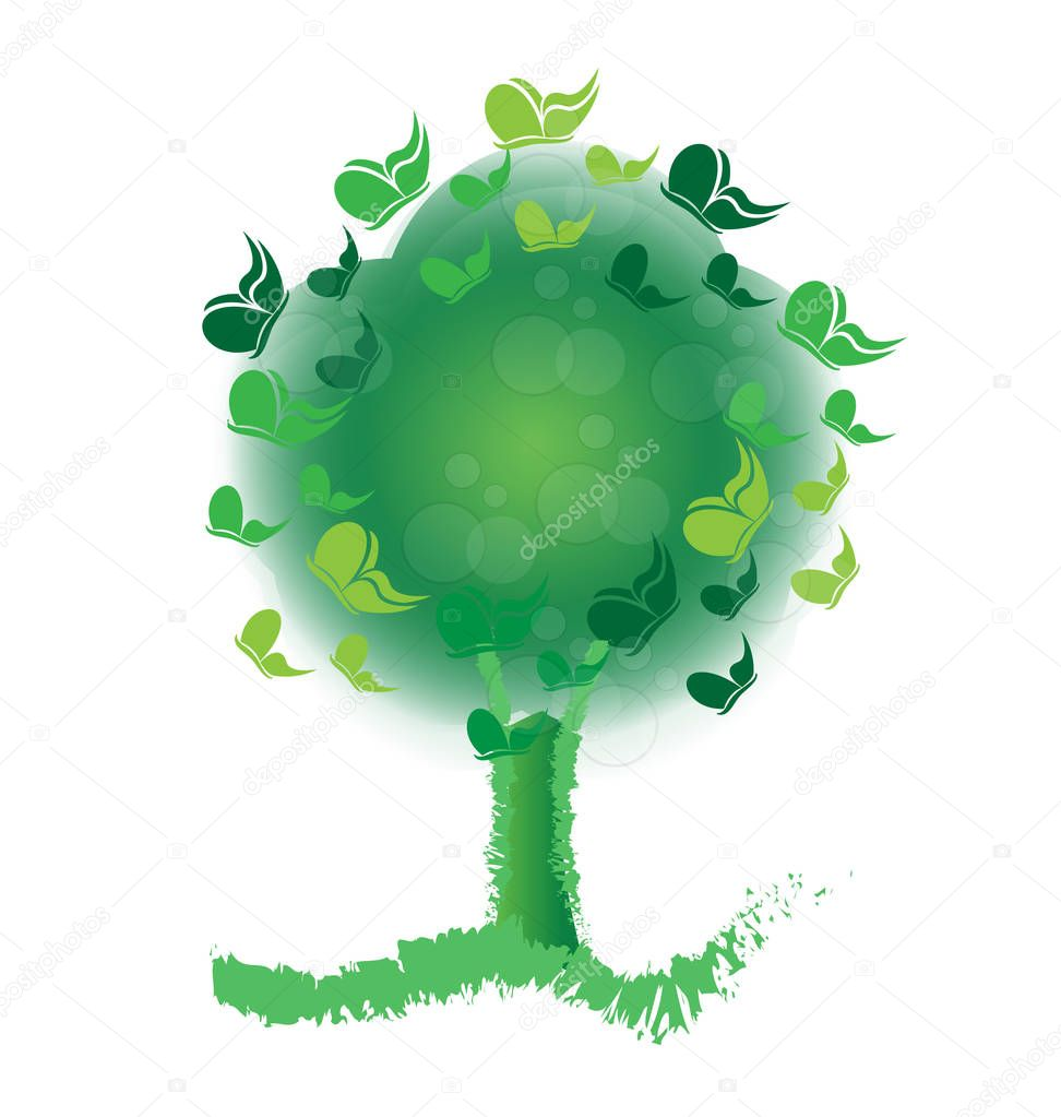 Green tree filled with butterflies, icon vector