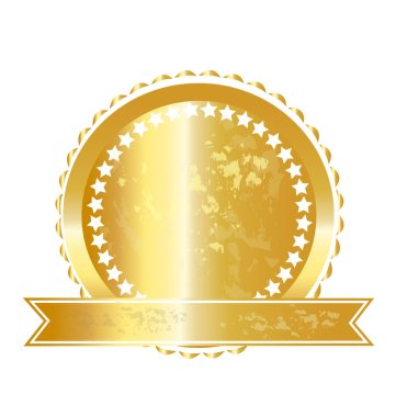 Gold label seal icon