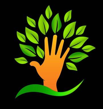 Abstract tree hand icon, creating environmental change