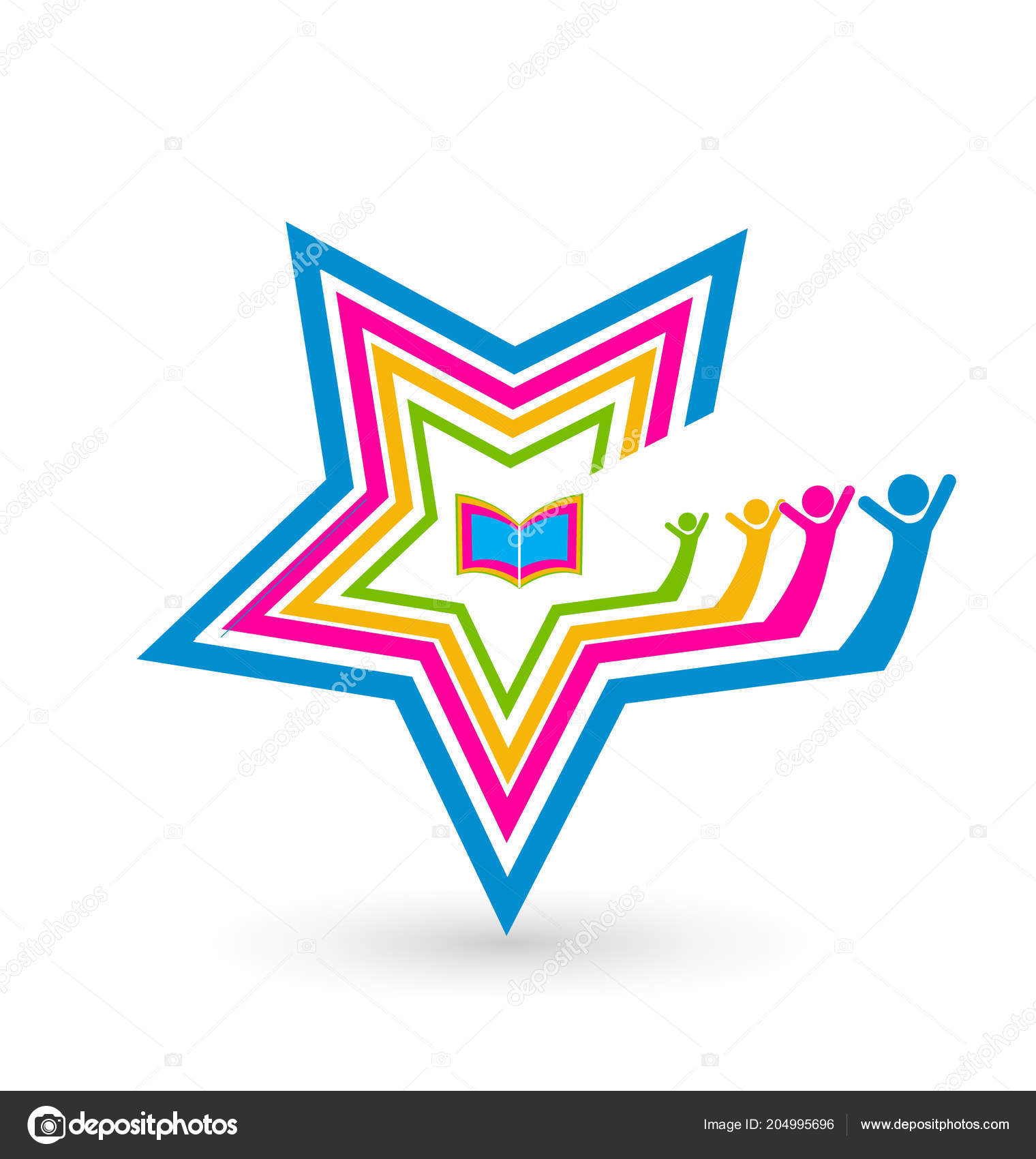 Happy friends unity concept vector logo — Stock Vector © Keviz
