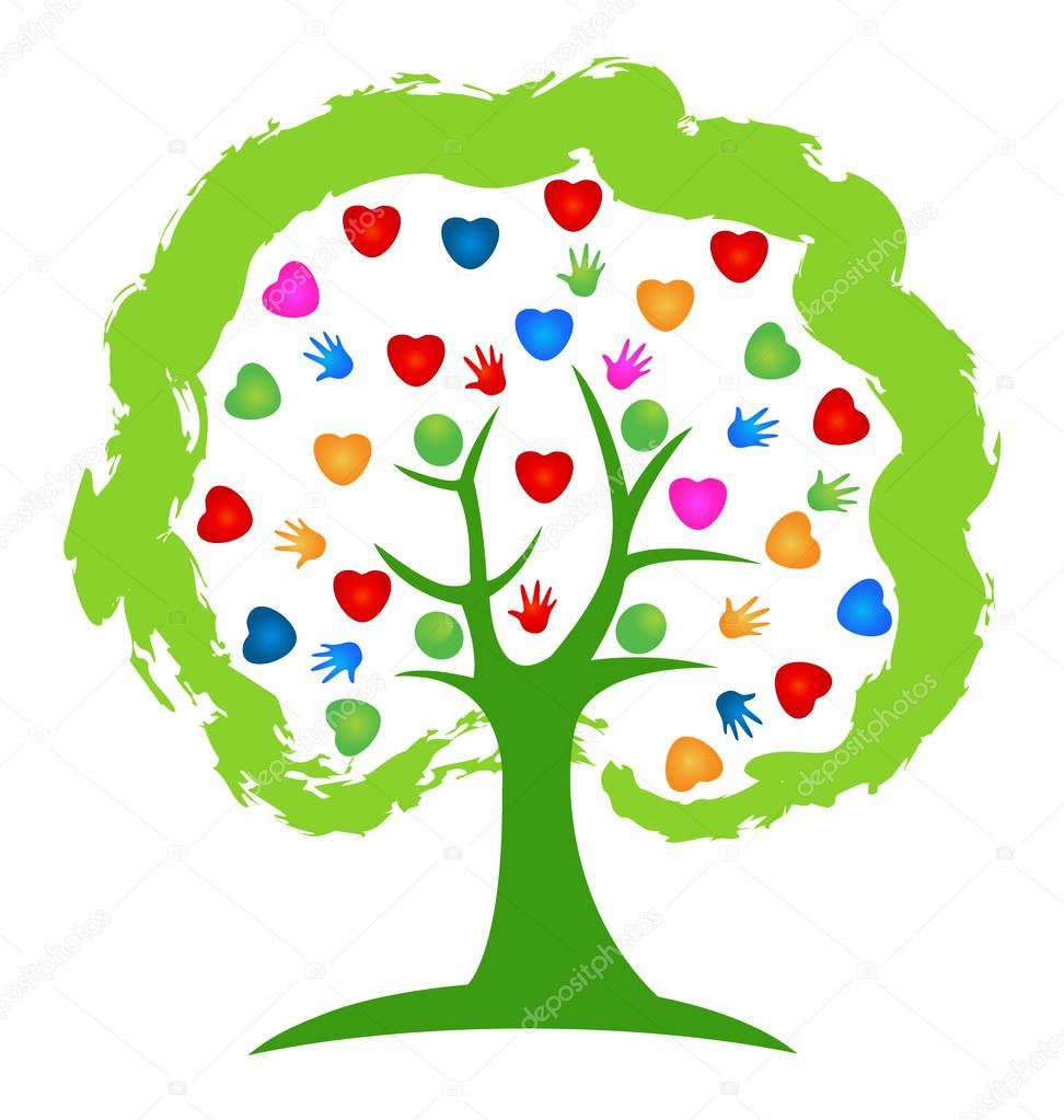 Tree hearts concept. Vector illustration vivid colors creative design