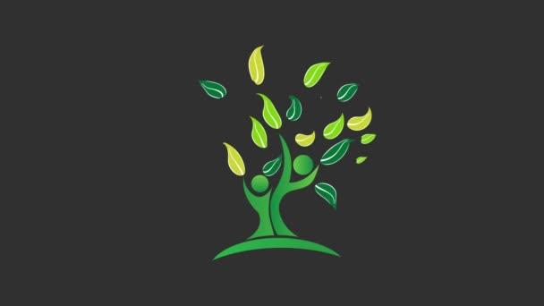 Zelený strom přírody. Video animace