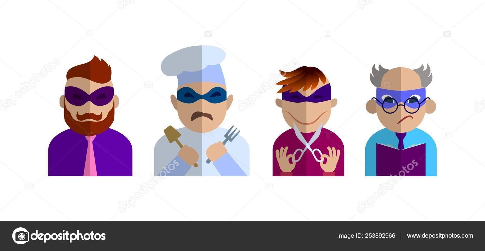 prezzo scontato liquidazione a caldo nuovi stili Caratteri di diverse professioni nelle maschere dei ...