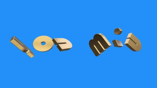 golden YOU WIN word gathering from letters parts spin animation on blue screen background - new quality unique financial business animated dynamic motivation motion text glamour video footage