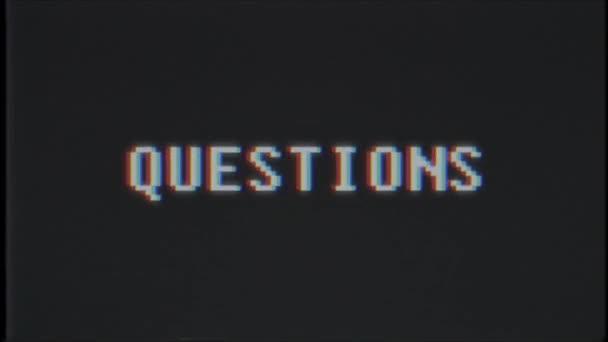 retro videojáték kérdések szó szöveg számítógép tv fénylik zavaró zaj képernyő animáció varrat nélküli hurok új minőségi egyetemes évjárat-motion dinamikus animációs háttér színes örömteli videóinak m