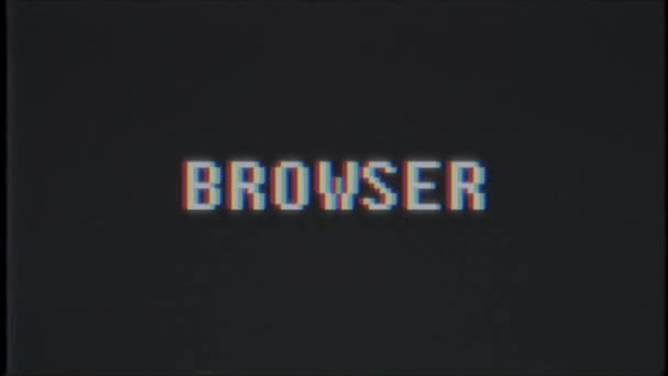 retro videogame BROWSER word text computer tv glitch interference noise screen animation seamless loop New quality universal vintage motion dynamic animated background colorful joyful video m