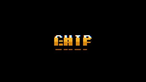 Retro videoherní čip slovo text počítač tv závada rušení hluku obrazovku animace bezešvé smyčka nový kvalitní univerzální vintage pohybu dynamický animovaný pozadí barevné radostné video m