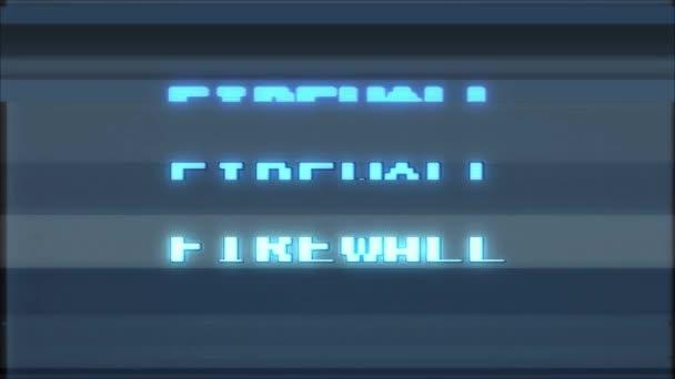 retro videojáték tűzfal szó szöveg számítógép tv fénylik zavaró zaj képernyő animáció varrat nélküli hurok új minőségű univerzális évjárat-motion dinamikus animációs háttér színes örömteli videóinak m