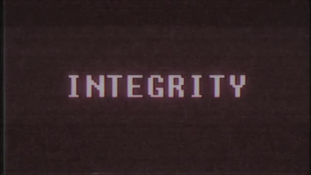 retro videogame INTEGRITY word text computer tv glitch interference noise screen animation seamless loop New quality universal vintage motion dynamic animated background colorful joyful video m