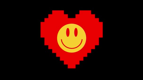 pixel heart with smile face symbol glitch interference screen seamless loop animation background new dynamic retro vintage joyful colorful video footage