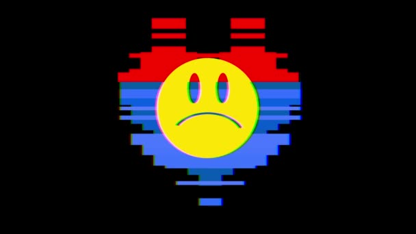 Coeur De Pixel Avec Sourire En Colère Triste Visage Symbole Glitch Interférence écran Boucle Parfaite Animation Fond Nouvelle Dynamique Rétro Vintage Joyeuse Coloré Séquences Vidéo
