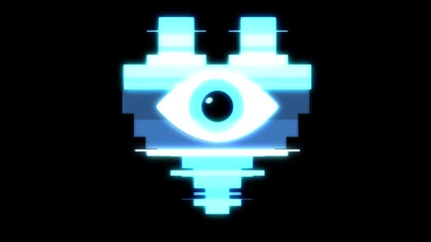 pixel heart with eye symbol glitch interference hud holographic screen seamless loop animation background new dynamic retro vintage joyful colorful video footage
