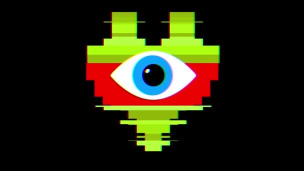 pixel srdce s oko symbol závada rušení obrazovky bezešvé smyčka animace pozadí nové dynamické retro vintage radostné barevný videozáznam