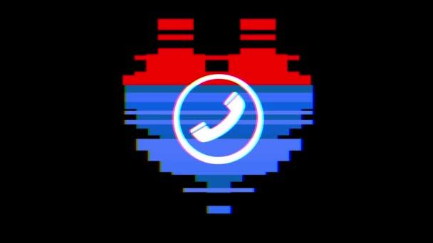 pixel srdce s telefonního hovoru symbol závada rušení obrazovky bezešvé smyčka animace pozadí nové dynamické retro vintage radostné barevný videozáznam