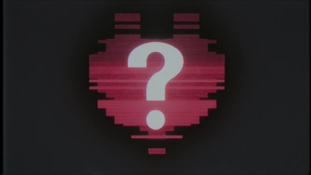 pixel szív kérdőjel szimbólum fénylik interferencia régi tv vhs képernyő varrat nélküli hurok animációs háttér új dinamikus retro vintage örömteli színes videó felvétel
