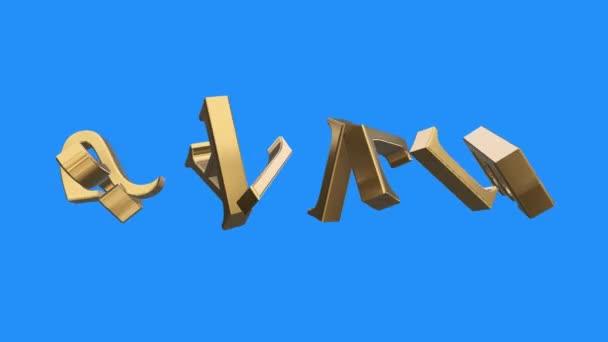Ouro Palavra Venda Recolhendo De Animação De Rotação De Partes De Cartas Em Fundo De Tela Azul Negócio Financeiro único Novo De Qualidade Animação Dinâmica Motivação Movimento Texto Glamour De