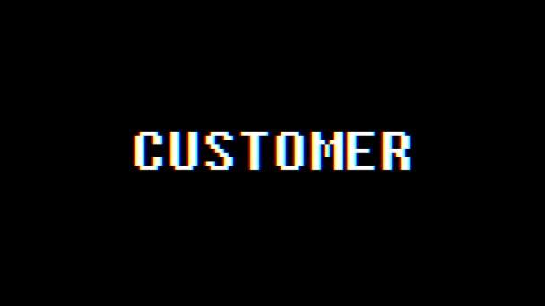 Retro videoherní zákazníka slovo text počítač tv závada rušení hluku obrazovku animace bezešvé smyčka nový kvalitní univerzální vintage pohybu dynamický animovaný pozadí barevné radostné video m