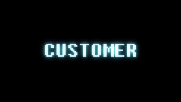 retro videojáték ügyfél szó szöveg számítógép tv fénylik zavaró zaj képernyő animáció varrat nélküli hurok új minőségű univerzális évjárat-motion dinamikus animációs háttér színes örömteli videóinak m