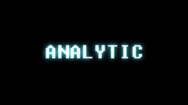 retro videogame ANALYTIC word text computer tv glitch interference noise screen animation seamless loop New quality universal vintage motion dynamic animated background colorful joyful video m