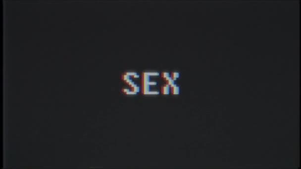 retro videogame sex word text computer tv glitch störung rauschen bildschirm animation nahtlose schleife neue qualität universal vintage motion dynamisch animierter hintergrund bunt freudig video m