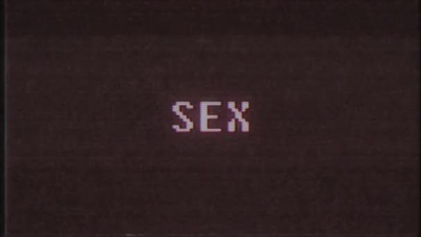 retro videojáték szex szó szöveg számítógép tv fénylik zavaró zaj képernyő animáció varrat nélküli hurok új minőségű univerzális évjárat-motion dinamikus animációs háttér színes örömteli videóinak m