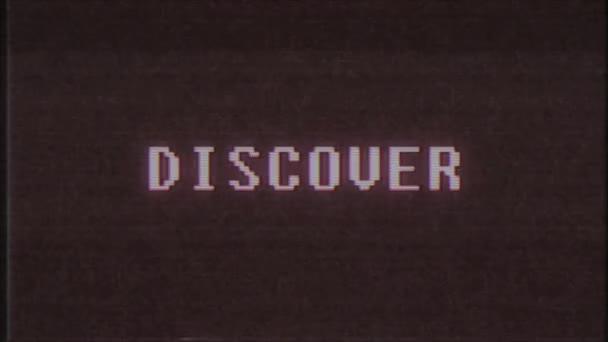 retro videojáték Discover szó szöveg számítógép tv fénylik zavaró zaj képernyő animáció varrat nélküli hurok új minőségű univerzális évjárat-motion dinamikus animációs háttér színes örömteli videóinak m