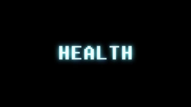 retro videogame HEALTH word text computer tv glitch interference noise screen animation seamless loop New quality universal vintage motion dynamic animated background colorful joyful video m