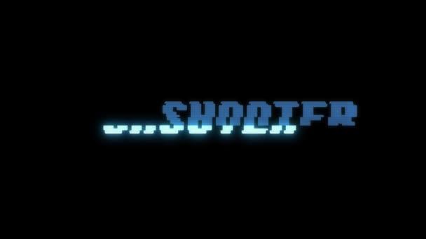 Retro videoherní střelec slovo text počítač tv závada rušení hluku obrazovku animace bezešvé smyčka nový kvalitní univerzální vintage pohybu dynamický animovaný pozadí barevné radostné video m