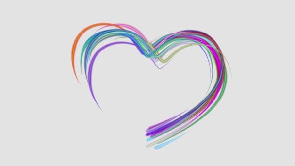 neon rainbow color drawn heart shape elegant lines stripes beautiful animation background New quality universal motion dynamic animated colorful joyful music video footage