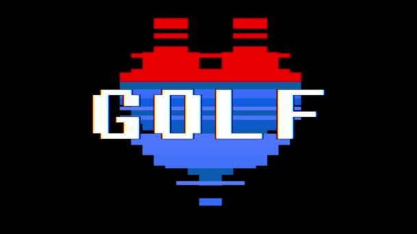 Pixel Herz Golf Wort Text Störung Bildschirm nahtlose Schleifenanimation Hintergrund neue dynamische Retro-Vintage freudige bunte Videomaterial