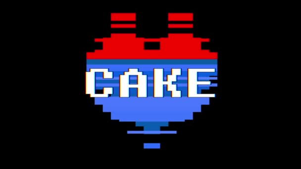 pixel heart CAKE word text glitch interference screen seamless loop animation background new dynamic retro vintage joyful colorful video footage