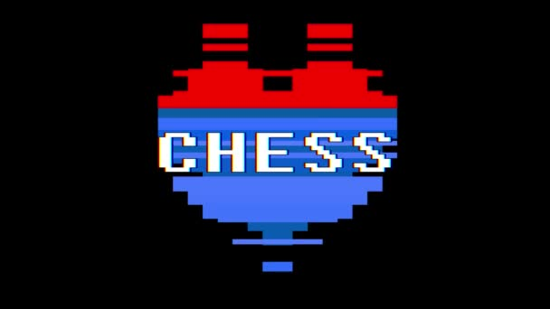 pixel heart CHESS word text glitch interference screen seamless loop animation background new dynamic retro vintage joyful colorful video footage