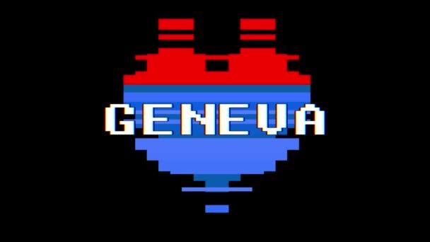 pixel szív Genfi szó szöveg fénylik interferencia képernyő varrat nélküli hurok élénkség háttér új dinamikus retro vintage örömteli színes videó felvétel